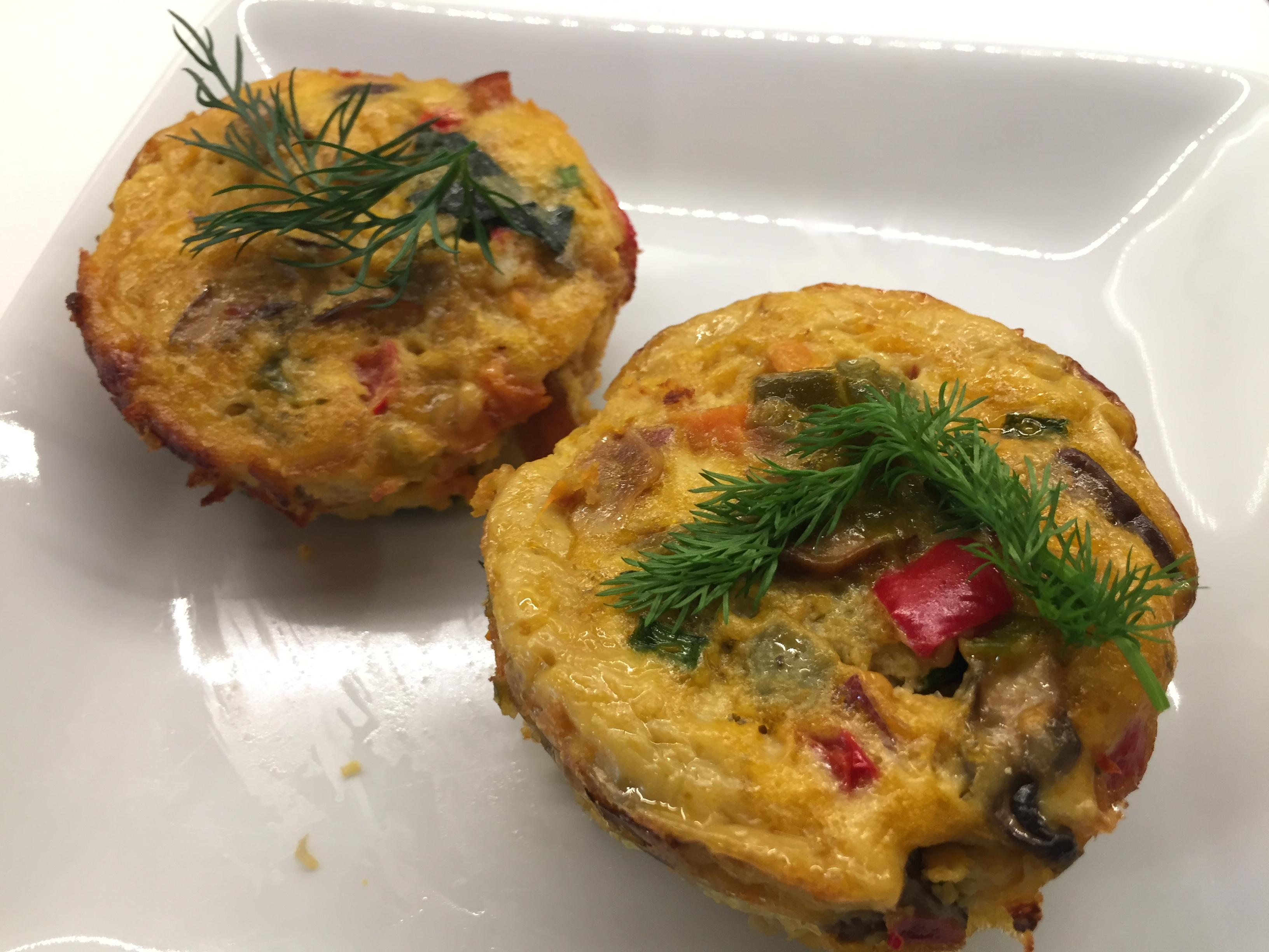 Breakfast Egg Muffins with Sprigs of Dill